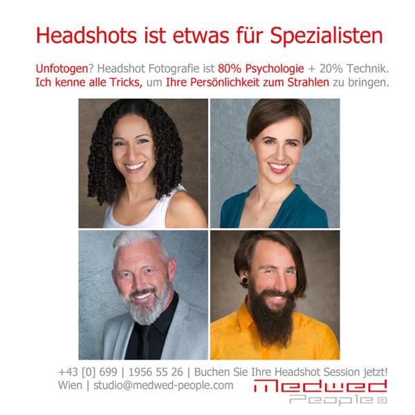 Headshotfotografie ist 80% Psychologie und 20% Technik. Headshots von der Spezialistin in Wien, die alle Tricks kennt, um Sie zum Strahlen zu bringen. Unfotogen sein ist ein Märchen.